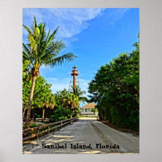 Sanibelの島の灯台フロリダ湾海岸 ポスター