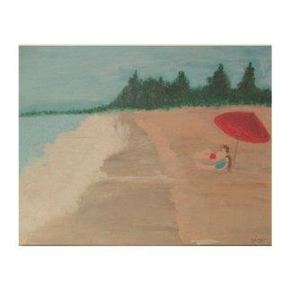 "Sanibelの島""休暇カップル"" ウッドウォールアート"