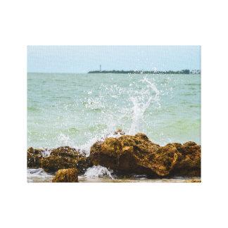 Sanibelの波はキャンバスを衝突します キャンバスプリント