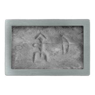 Sanilacの岩石彫刻ミシガン州ハンター 長方形ベルトバックル
