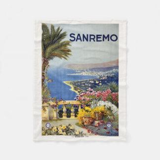 Sanremoイタリアのヴィンテージ旅行フリースブランケット フリースブランケット