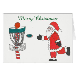Santa Cause playing disc golf Christmas card カード