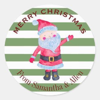 Santa Claus Stripes Personalized ラウンドシール