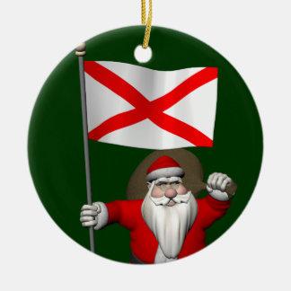 Santa Claus With Ensign Of Alabama セラミックオーナメント