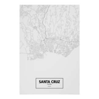 Santa Cruz, California (black on white) ポスター