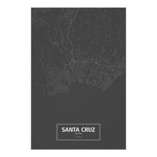 Santa Cruz, California (white on black) ポスター