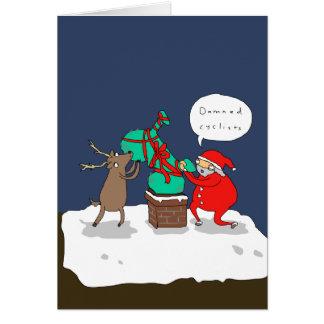 Santa Hates Cyclists | Funny Comic Christmas Card カード
