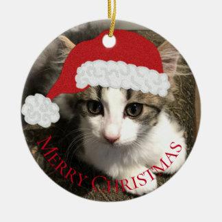 Santa Kitten Christmas Ornament セラミックオーナメント