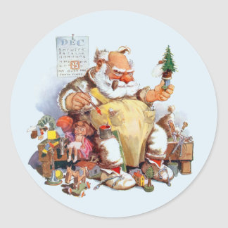 Santa Making Toys Stickers ラウンドシール