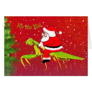 Santa On Praying Mantis Custom Christmas Card カード