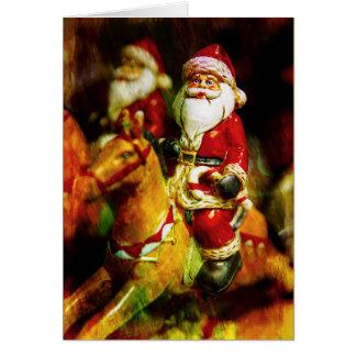 Santa Rides a Carousel カード