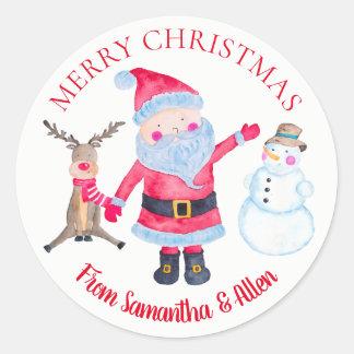 Santa Rudolf Snowman Personalized ラウンドシール