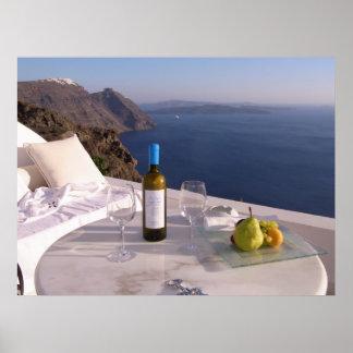 Santoriniのテーブル ポスター