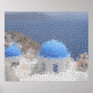 Santoriniのモザイク ポスター