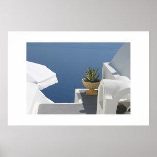 Santoriniの別荘の眺め ポスター