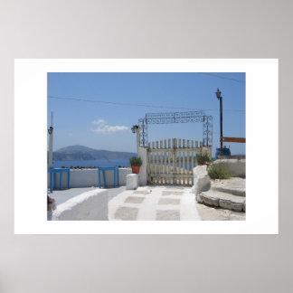 Santoriniの古いゲート ポスター