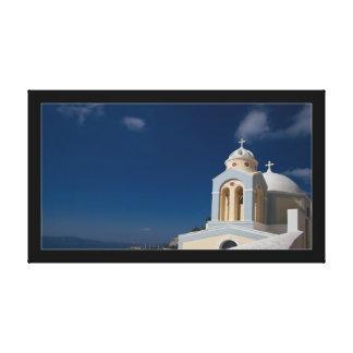 Santoriniの島のギリシャ正教会 キャンバスプリント