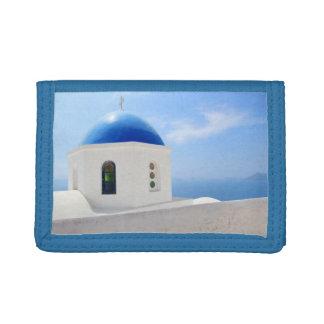 Santoriniの島、ギリシャのギリシャ正教会 ナイロン三つ折りウォレット