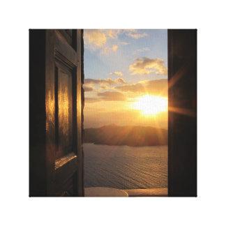Santoriniの日没のキャンバスプリント キャンバスプリント