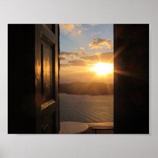 Santoriniの日没ポスター ポスター