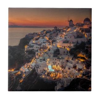 Santoriniの日没、ギリシャ タイル