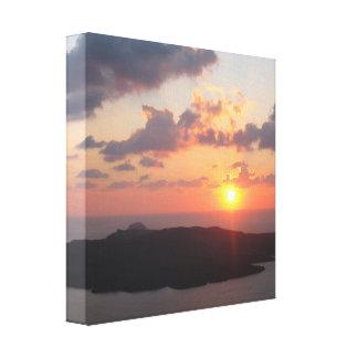 Santoriniの華麗な日没 キャンバスプリント