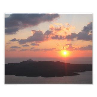Santoriniの華麗な日没 フォトプリント