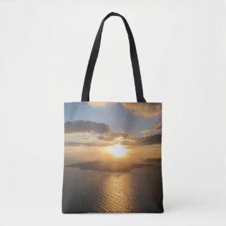 Santoriniの金日没 トートバッグ
