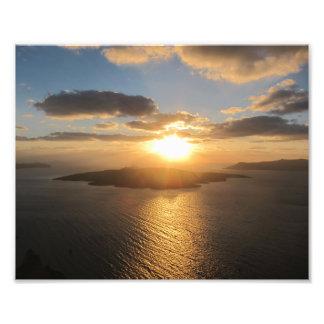 Santoriniの金日没 フォトプリント