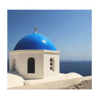 Santoriniの青いドーム キャンバスプリント