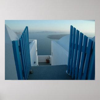 Santoriniへのドア ポスター
