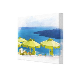 Santoriniギリシャの絵画 キャンバスプリント
