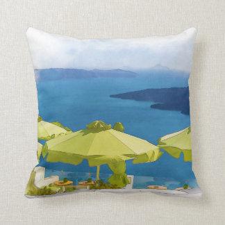 Santoriniギリシャの絵画 クッション