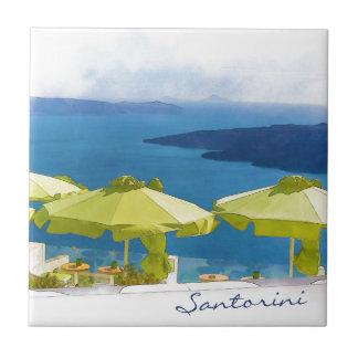 Santoriniギリシャの絵画 タイル