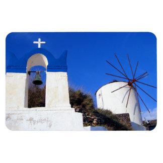 Santorini教会および風車の冷蔵庫用マグネット マグネット
