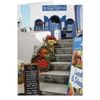 Santorini、ギリシャのギリシャの居酒屋 カード