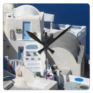 Santorini、ギリシャ スクエア壁時計