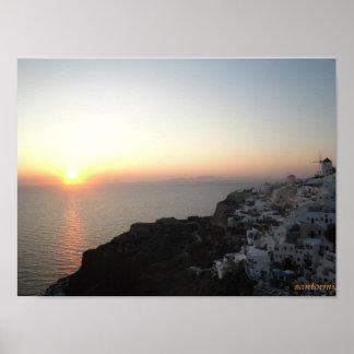 santorini、ギリシャ ポスター