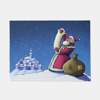 santsのリストのクリスマスの休日の絵 ドアマット