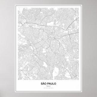 Sãoパウロ、ブラジルの最小主義の地図ポスター(スタイル2) ポスター
