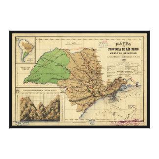 Sãoパウロ、ブラジル(1886年)の地図 キャンバスプリント