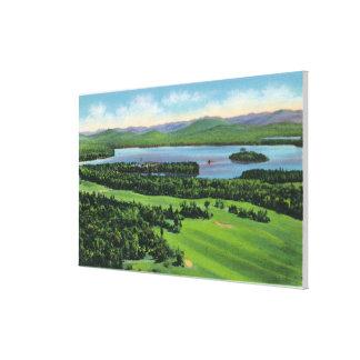 Saranacのインのゴルフコースの空中写真及び キャンバスプリント