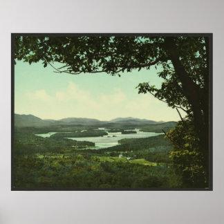 Saranac湖、Adirondacksを下げて下さい ポスター