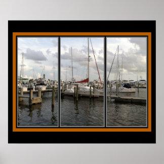 Sarasotaフロリダのマリーナ ポスター