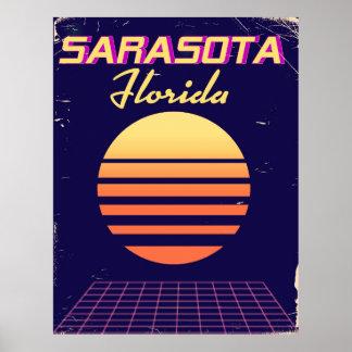 Sarasotaフロリダの80年代のヴィンテージ旅行印刷物 ポスター