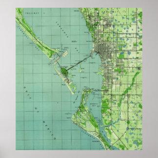 Sarasotaフロリダ(1944年)のヴィンテージの地図 ポスター