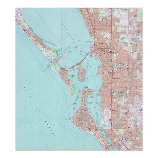 Sarasotaフロリダ(1973年)のヴィンテージの地図 ポスター
