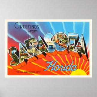 SarasotaフロリダFLの古いヴィンテージ旅行記念品 ポスター