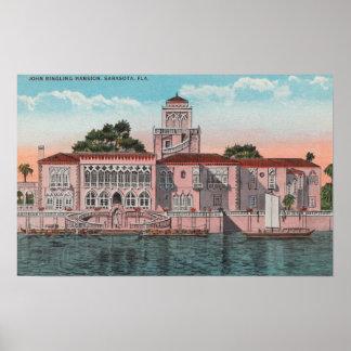 Sarasota、フロリダ-ジョンRinglingの意見 ポスター