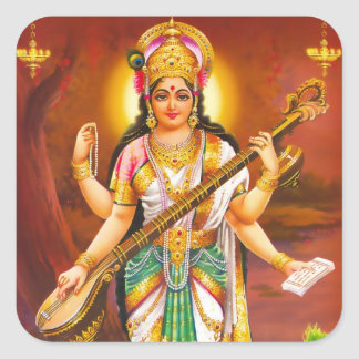 Saraswatiのステッカー-バージョン2 スクエアシール